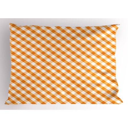 Checkered Pillow Sham Cross Weave Gingham Pattern in Orange and White Old Fashioned Classical Tile, Decorative Standard Size Printed Pillowcase, 26 X 20 Inches, Orange White, by Ambesonne