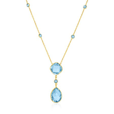 14k Yellow Gold Necklace with Pear-Shaped and Cushion Blue Topaz Briolettes - image 2 de 2