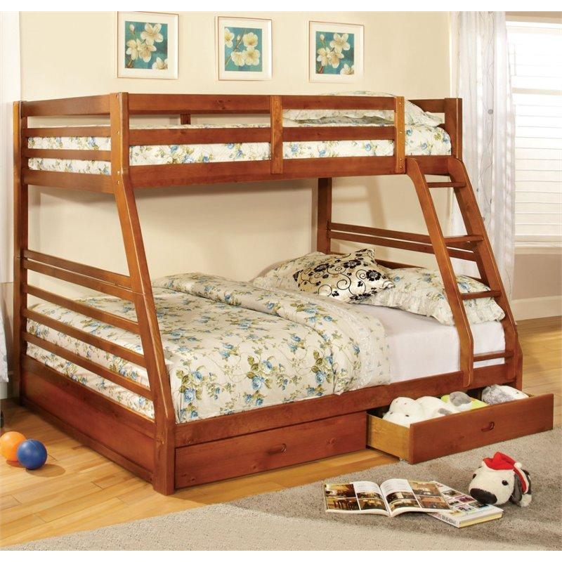 Furniture of America Torrance Twin Over Full Bunk Bed in Oak