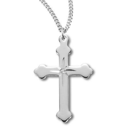 Women's Sterling Silver Star Center Cross Necklace + 18