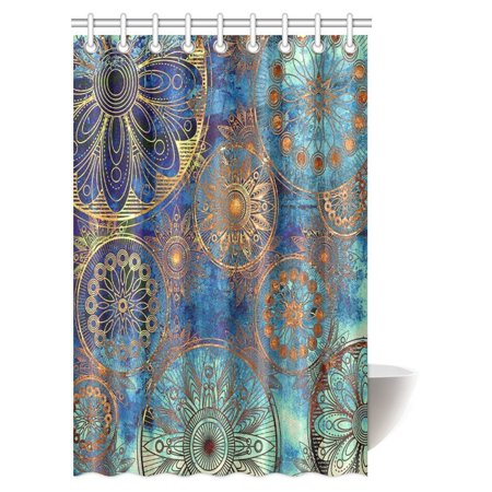 MYPOP Art Grunge Stylized Damask Pattern with Circles Floral Ornament in Blue, Orange and Gold Fabric Bathroom Shower Curtain Set with Hooks, 48 X 72 Inches ()