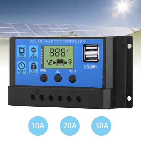 TSV 30A/20A/10A PWM Solar Charge Controller 12V/24V Battery Charge Regulator with LCD Display and 5V/2.5A Dual USB Charger Output for Mobile Phones, Tablets 2 Output Dual Display