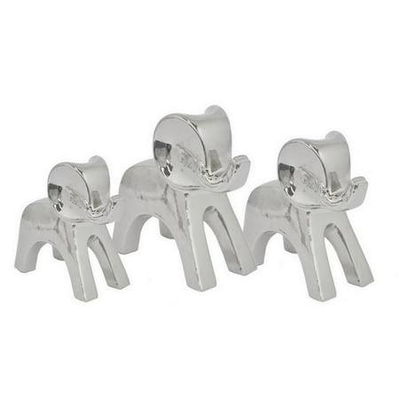 Three Hands Co. Ceramic Elephant 3 Piece Figurine Set - Ceramic Elephant