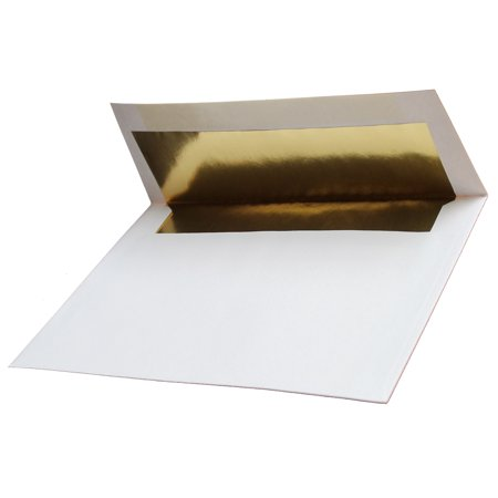 Gold Foil-Lined 70lb. White A7 (5-1/4 x 7-1/4) Envelopes 25 Boxed for 5