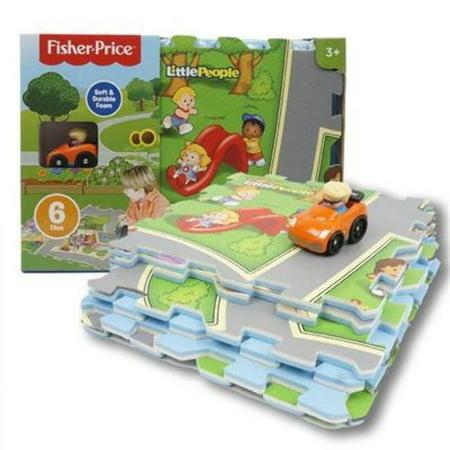 JamN' Products - 6 Piece Tile Mega Floor Mat with Vehicle, Little People (Mega Vehicle)