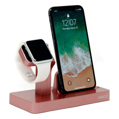 Rose Gold Charging Dock Stand Station Charger Holder For Apple Watch iWatch Series 4 3 2 1, iPhone XS Max /XS/ XR /X,iPhone 8 Plus, iPhone 8, iPhone 7 Plus, iPhone 7, iPhone 6 Plus, iPhone 6 / 6S,5