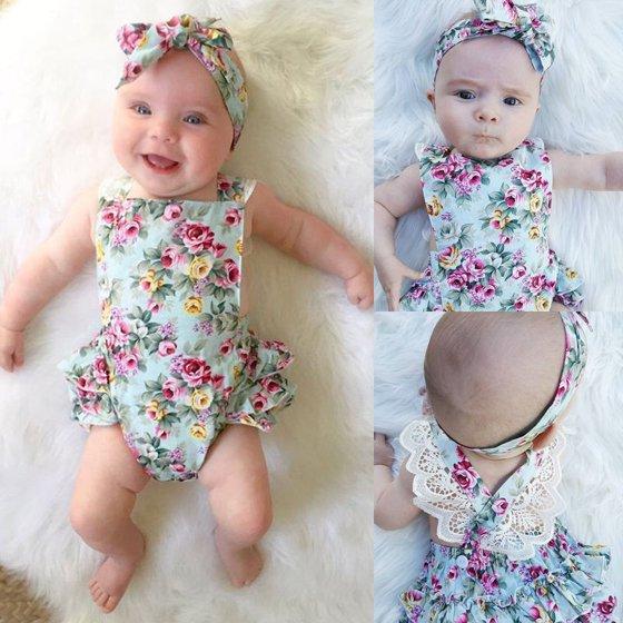4ed893611 Newborn Kid Baby Girl Clothes Floral Outfits Set Lace Jumpsuit Romper  Bodysuit C