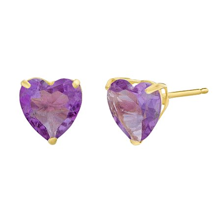 Heart 6MM Gemstone 10K Yellow Gold Stud Earrings