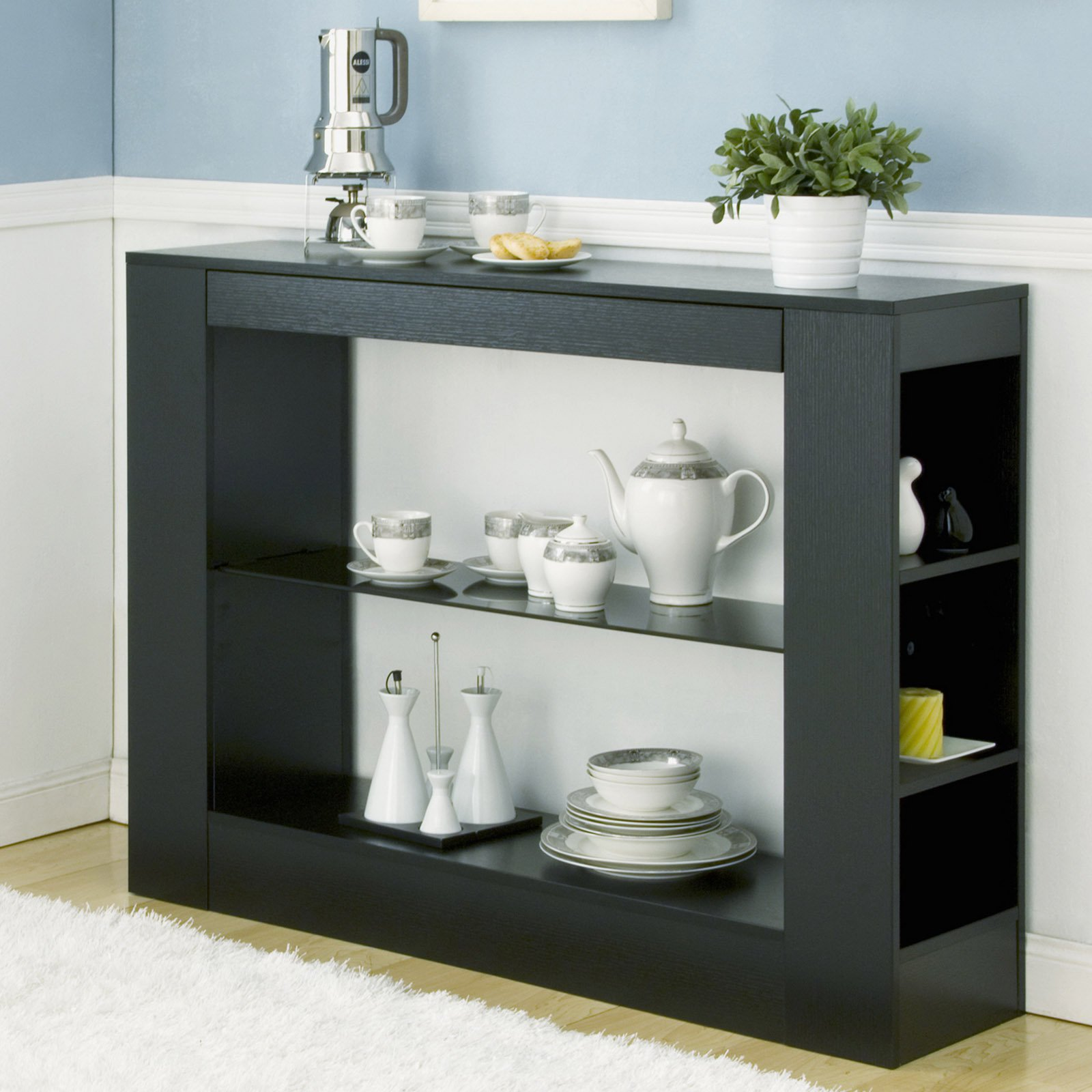 Furniture of America L Ouverte Open Shelf Buffet Table by Enitial Lab