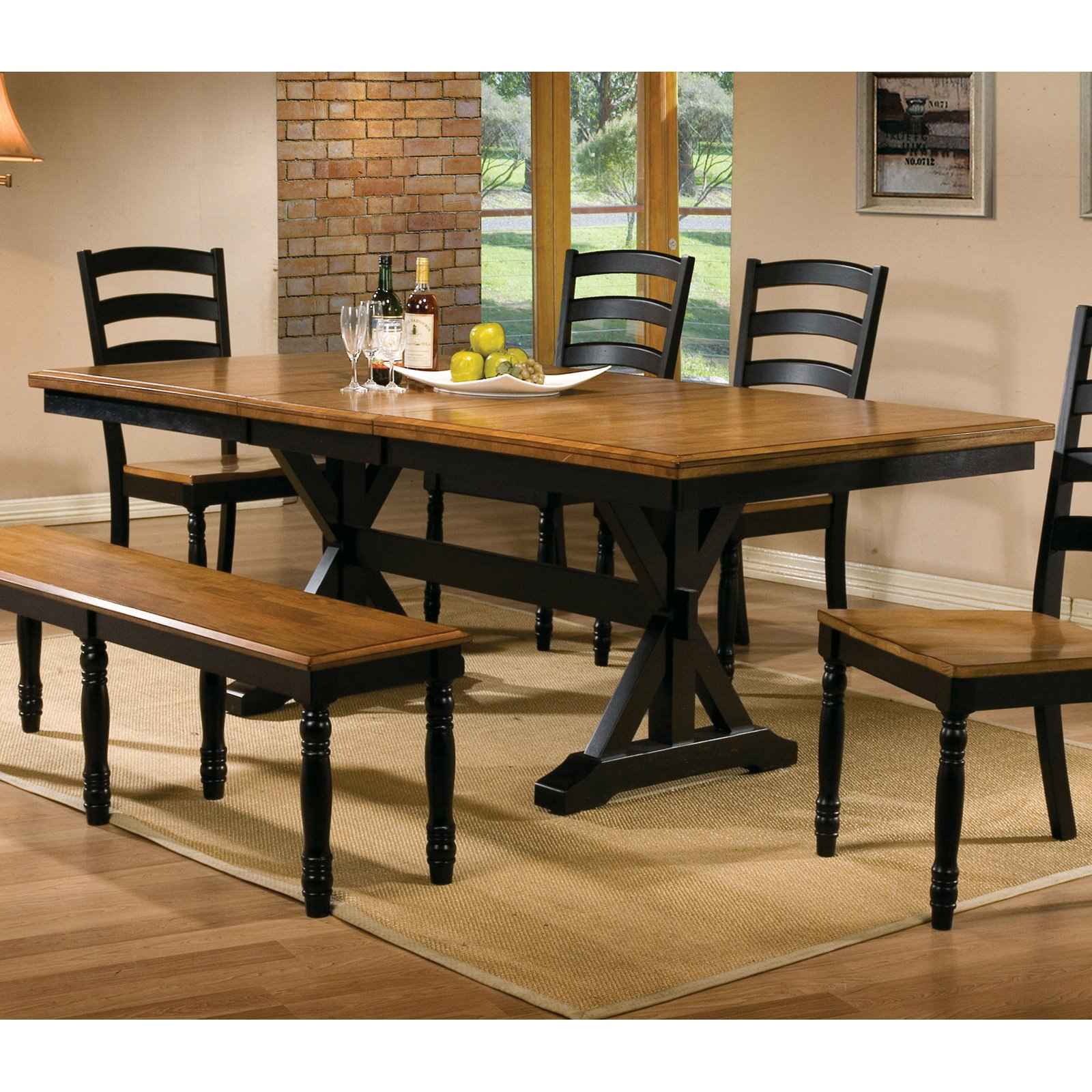Trestle Dining Table With 18 In. Butterfly Leaf   Walmart.com