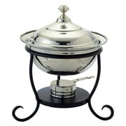 """12? x 12½"""" x 15? Round Polished Nickel over S/S Chafing Dish, 3 Qt."""