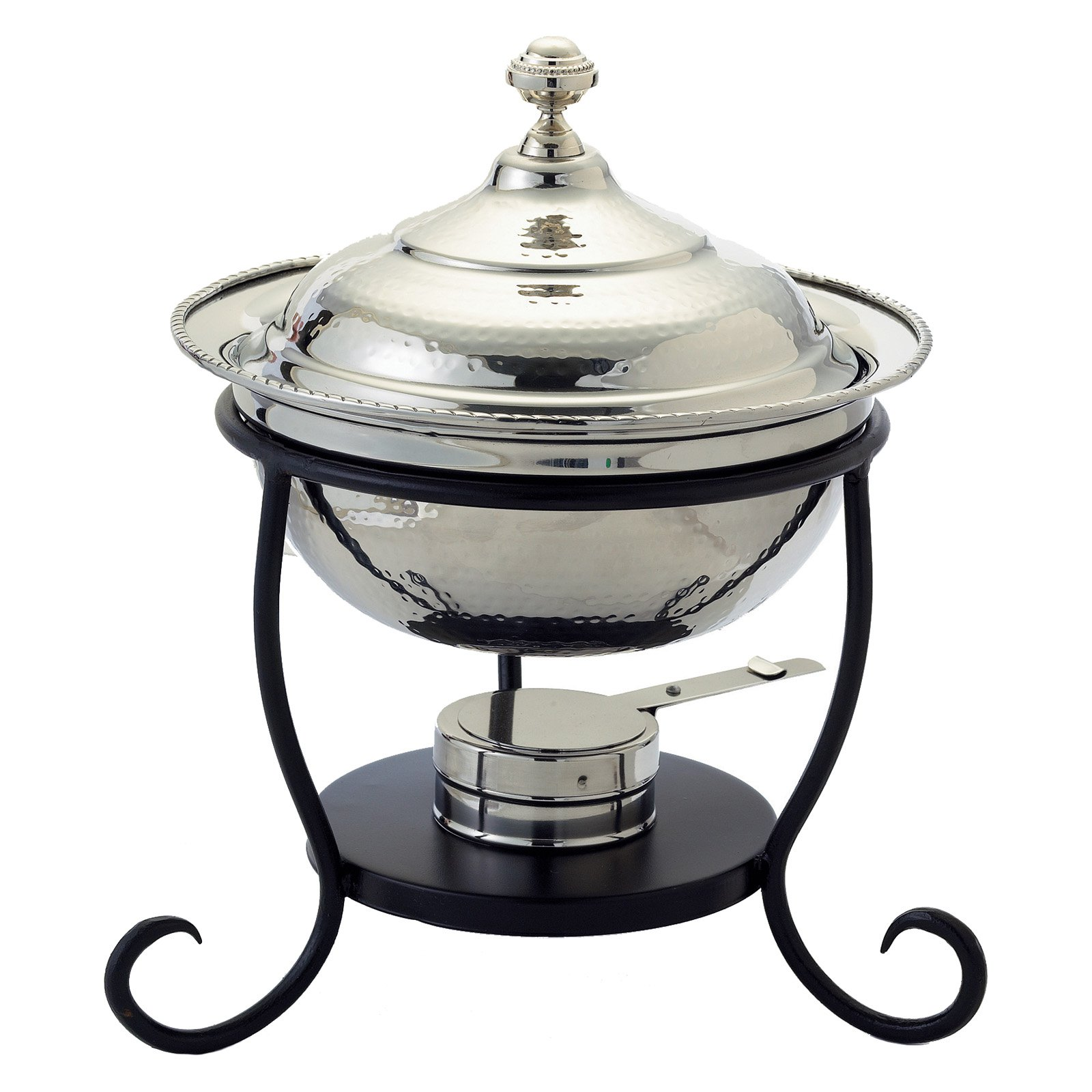 "12"" x 12½"" x 15"" Round Polished Nickel over S/S Chafing Dish, 3 Qt."