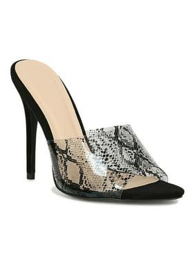 Women Faux Suede Pointed Open Toe Stiletto Mule Heel 18248