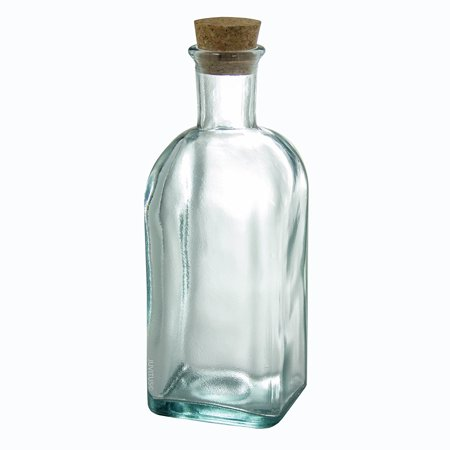Clear Thick Recycled Spanish Glass Bottle with Cork Top - 17 oz / 500 ml - Bottles With Corks