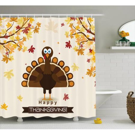 Turkey Shower Curtain, Fall Season Illustration Festive Holiday Theme Abstract Autumn Celebration, Fabric Bathroom Set with Hooks, 69W X 70L Inches, Brown Orange Yellow, by Ambesonne - Holiday Shower Curtain
