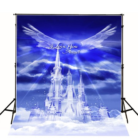 HelloDecor Polyster 5x7ft Royal Blue Sky Photography Backdrops Christmas Photo Background for Photography Studio