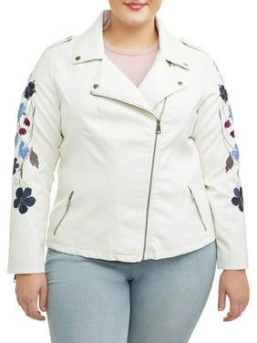 8856bbef5f68 Product Image Women s Plus Size White Rose Sleeve Leather Jacket