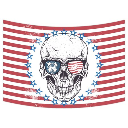YKCG Skull in USA Flag Sunglasses Red Stripes Wall Hanging Tapestry Wall Art 90x60 inches