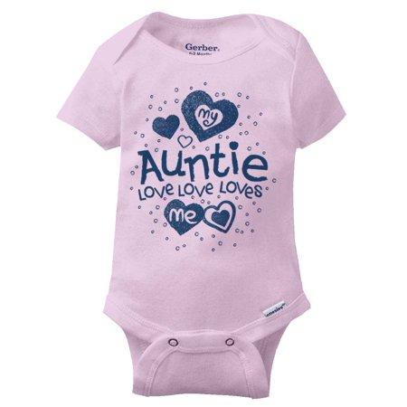 798ad4ccd My Auntie Loves Me Gerber Onesie | Cute Best Favorite Niece Nephew Baby  Romper - Walmart.com