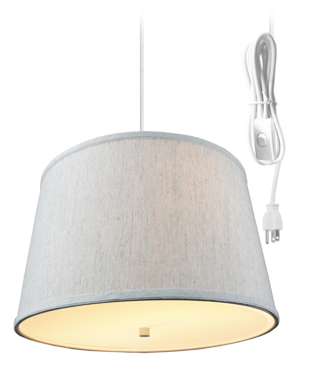 2 light plug in pendant light by home concept hanging swag lamp textured oatmeal with diffuser perfect for apartments dorms no wiring needed