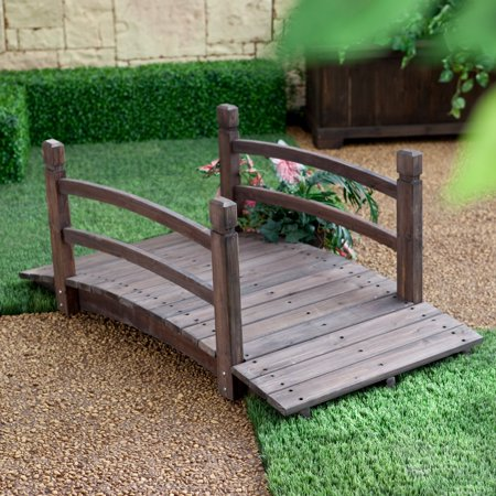 Bridge End Garden (Coral Coast Harrison 4-ft. Wood Garden Bridge - Dark Stain)