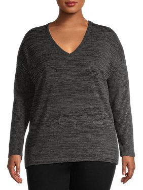 Terra & Sky Women's Plus Size Long Sleeve Mixed Media Thermal Ribbed Top