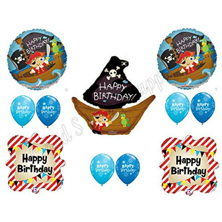 PIRATE SHIP Birthday Balloons Decoration Supplies Party Skull Crossbones Boy for $<!---->