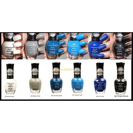 LWS LA Wholesale Store  Kleancolor Matte Collection 6pc Lot Nail Polish Lacquer White Black, Blue (131 Black Lacquer)