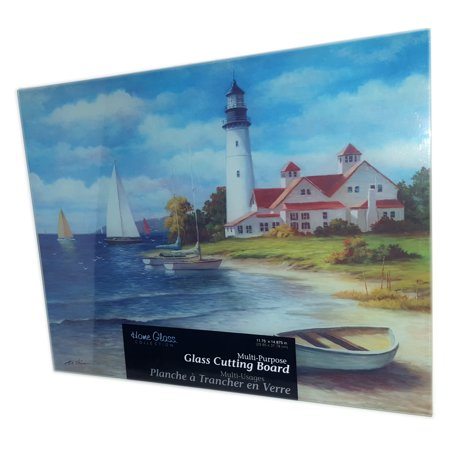 Home Glass Collection Lighthouse Glass Cutting Board 11.75
