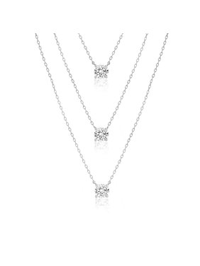 3d8f5d689 Product Image Lesa Michele Women's White Cubic Zirconia Triple Tiered Chain  Necklace in Rhodium Plated Sterling Silver