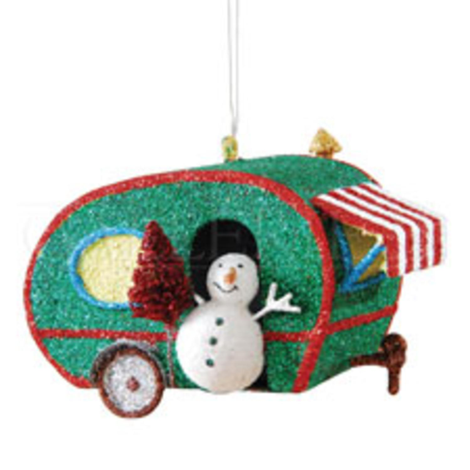 "4"" Snowman in a Glitter Drenched Vacation Camper Decorative Christmas Ornament"