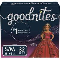 GoodNites Bedtime Bedwetting Underwear for Girls, Size S/M, 32 Count (Packaging May Vary)