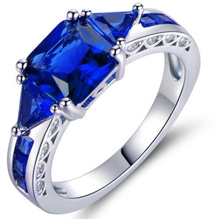 4 Carat T.G.W. Sapphire 18kt White Gold-Plated Ring 18kt White Gold Antique Ring