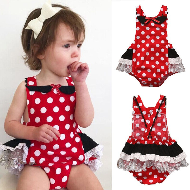 Summer Newborn Toddler Kids Baby Girls Romper Outfits  Minnie Mouse Clothes