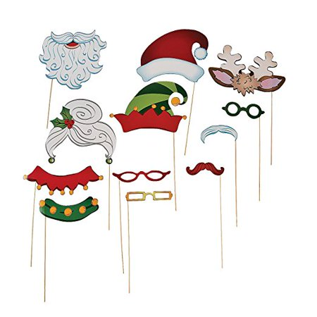 Christmas Santa Elf Stick Costume Photo Booth Props - 12 pcs (Christmas Elves Costumes)