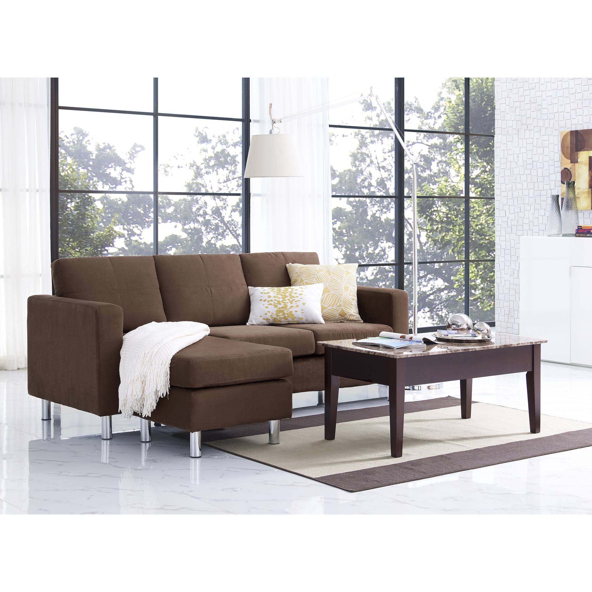 dorel living small spaces sectional sofa multiple colors walmartcom