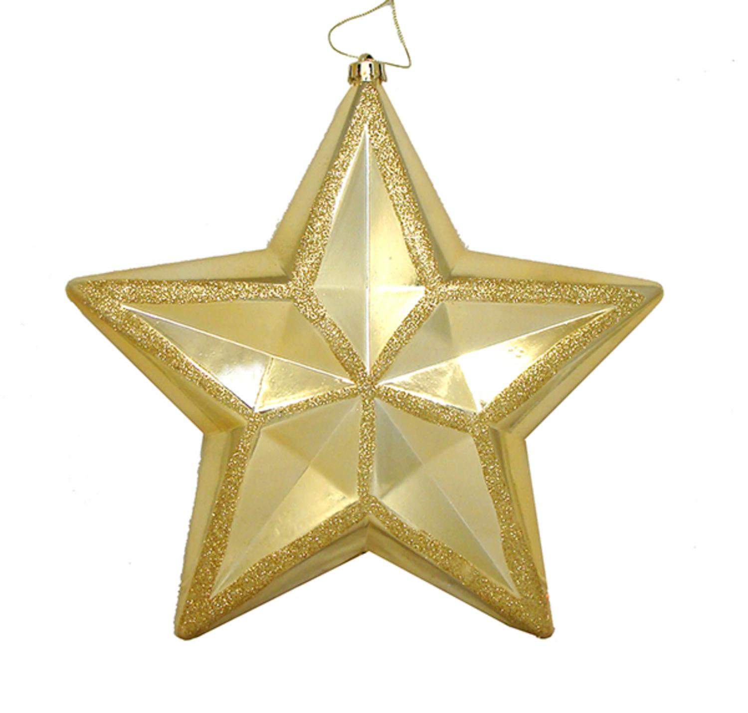"12"" Shiny Vegas Gold Commercial Size Shatterproof Star Christmas Ornament"
