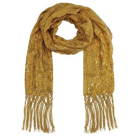 Gold Scarf (Gold Filigree Design Sequin Shawl)
