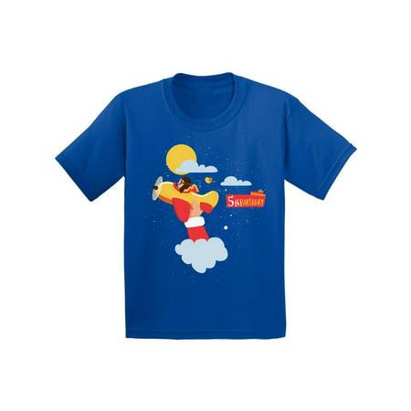 Awkward Styles Pilot Birthday Shirt Airplane Birthday Tshirt 5th Birthday Party Pilot Gifts for 5 Year Old Cute Birthday Girl Shirt Pilot Birthday Tshirt for Boys 5 Year Birthday