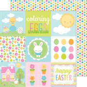 """Bunnyville Double-Sided Cardstock 12""""X12""""-Coloring Eggs"""