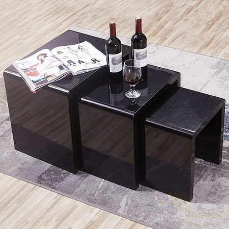 Modern Nest Of 3 Black Coffee Table Side End High Gloss Living Room