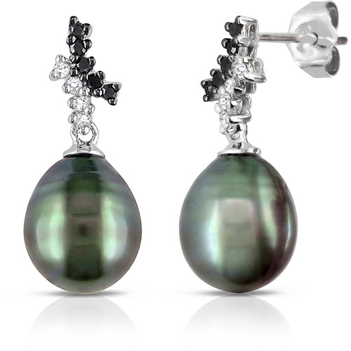 8.5-9mm Black Drop Tahitian Pearl and 1/7 Carat T.W. Black and White Diamond 10kt White Gold Fashion Earrings