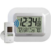 La Crosse Technology Digital WS-811561-W Atomic Wall Clock with Solar-Powered Outdoor Sensor