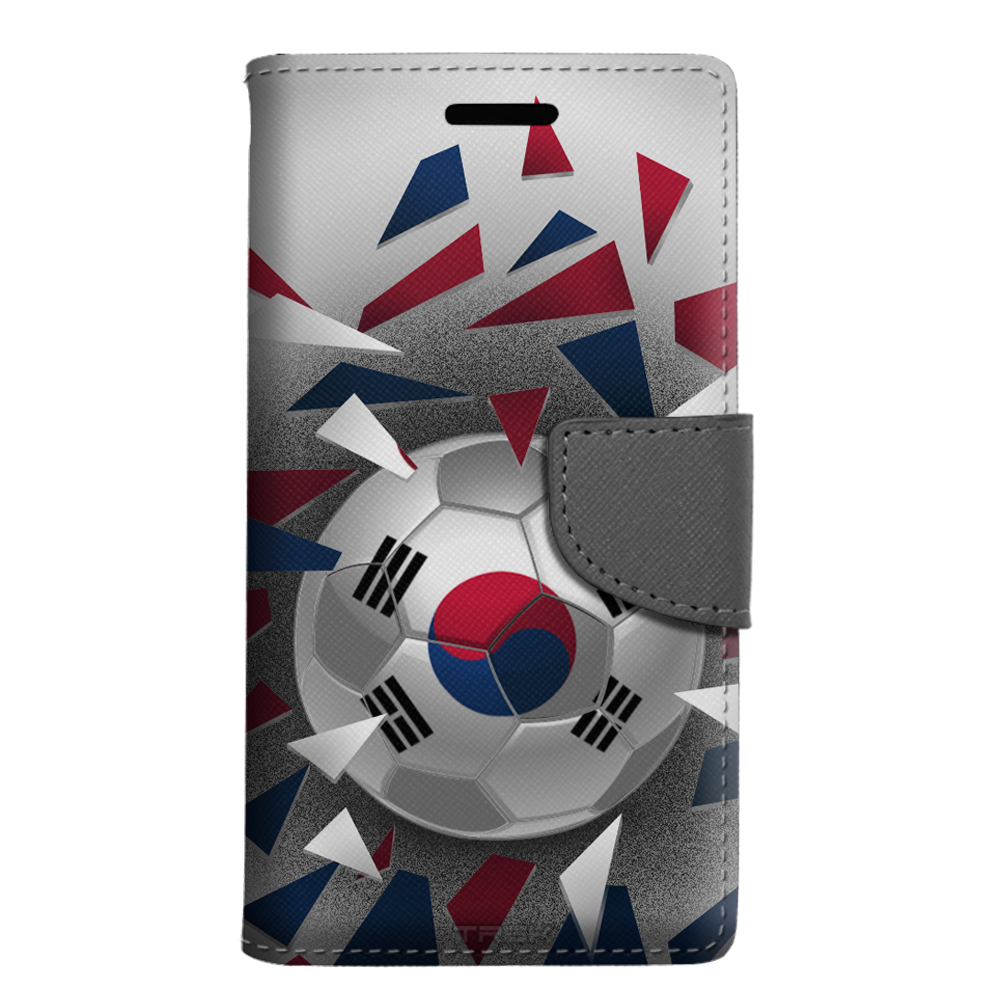 LG Escape 3 Wallet Case Soccer Ball Korea Flag Case by Trek Media Group
