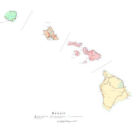 Printable Digital Map (Laminated Map - Printable political Map of Hawaii Poster 24 x 36)