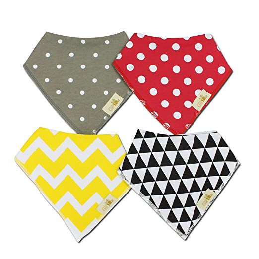 Baby Bandana Drool Bib with adjustable snaps for boys and girls - Yellow chevron- set of 4.  Baby shower gift set- by GIFT IT!
