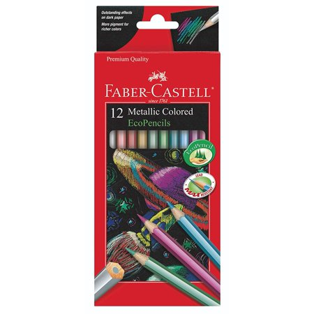 Metallic Colored EcoPencils - 12 Break Resistant Coloring Pencils Faber Castell - 12 Count - Metallic Colored Pencils