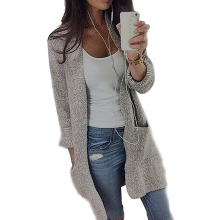 Women Casual Long Sleeve Cardigan Knit Knitwear Sweater Coat Thick Outwear Tops