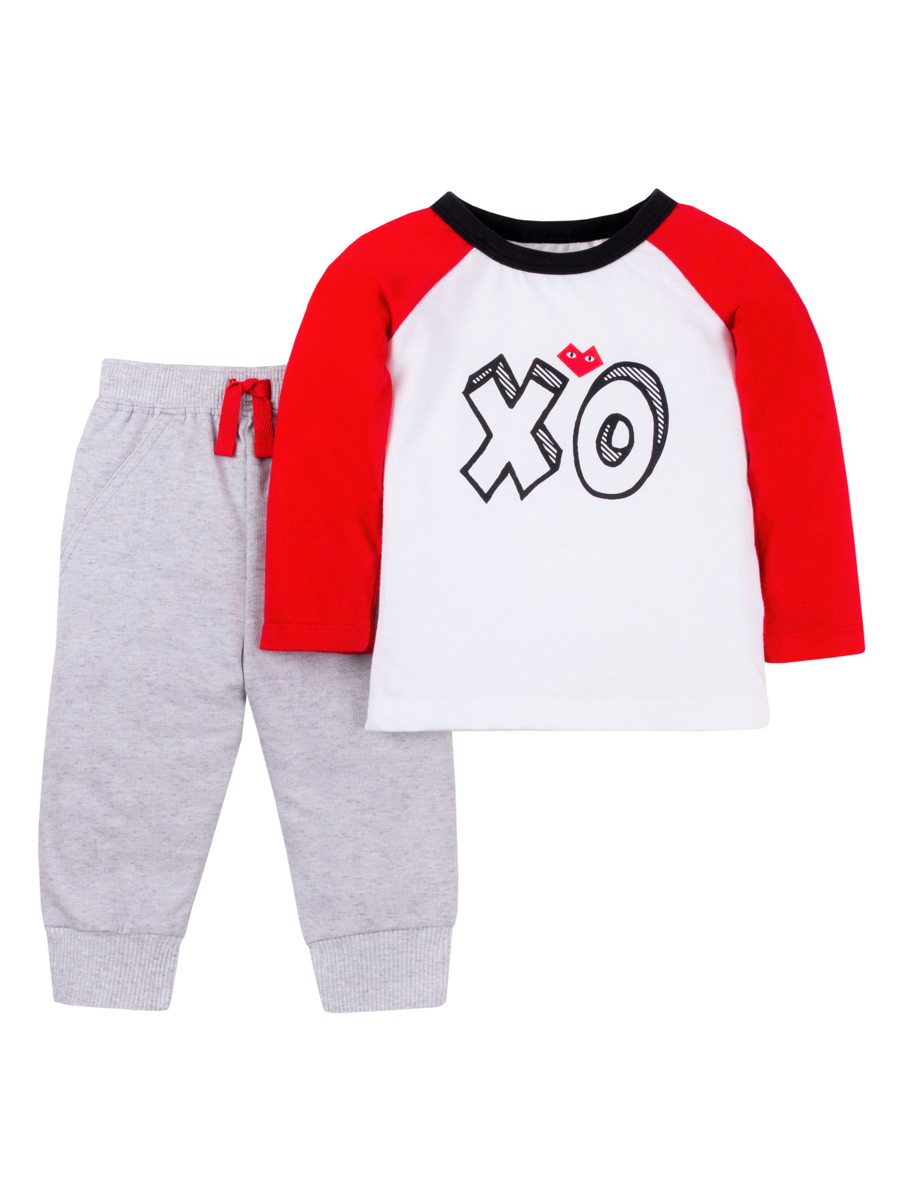 Valentine's Long Sleeve T-shirt & Jogger Pants, 2pc Outfit Set (Baby Boys)