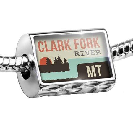 Fork Charm (Bead USA Rivers Clark Fork River - Montana Charm Fits All European Bracelets)